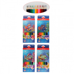 Карандаши цветные 12 цветов, дерево, трехгранный, картонная коробка ZOO-5 Yalong 530058-12