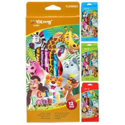 Карандаши цветные 12 цветов, дерево, шестигранный, картонная коробка Yalong YL 830023-12
