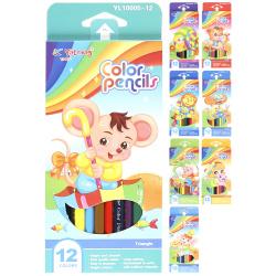 Карандаши цветные 12 цветов, пластик, трехгранный, картонная коробка Yalong YL 10005-12
