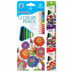 Карандаши цветные 12 цветов, дерево, трехгранный, картонная коробка Flower Yalong YL10033-12