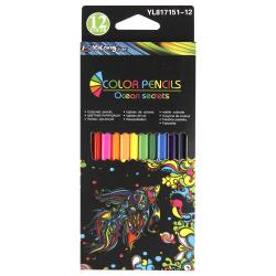 Карандаши цветные 12 цветов, дерево, трехгранный, картонная коробка Magic Magic Yalong YL817151-12