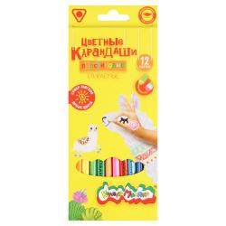 Карандаши цветные 12цв Каляка Маляка трехгранные стираемые с ластом ККМП12  европодвес картонная коробка