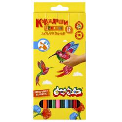 Карандаши цветные акварельные 12цв Каляка Маляка шестигранные КАКМ12 европодвес картонная коробка