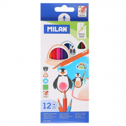 Карандаши цветные 12 цветов, дерево, трехгранный Milan 1110717