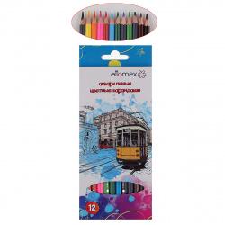 Карандаши цветные акварельная 12цв Attomex шестигранные 5022311 европодвес картонная коробка