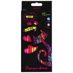 Карандаши цветные 12цв КОКОС ERGO First Cat neon трехгранные 205862 европодвес картонная коробка