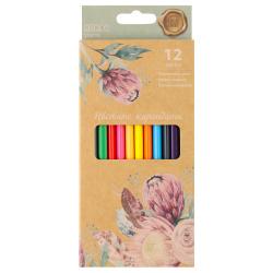 Карандаши цветные 12цв КОКОС ERGO First Spring Flowers трехгранные 210719 европодвес картонная коробка