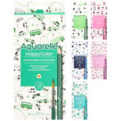Карандаши цветные акварельная 12цв BrunoVisconti HappyColor трехгранные 30-0066 европодвес картонная коробка ассорти