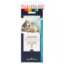 Карандаши цветные акварельные 12цв BrunoVisconti  Aquarelle трехгранные 30-0034 европодвес картонная коробка