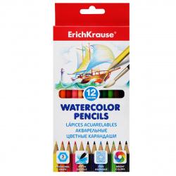 Карандаши цветные акварельные 12цв Erich Krause с кистью шестигранные 50533 европодвес картонная коробка
