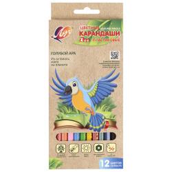Карандаши цветные 12 цветов, пластик, шестигранный Zoo Луч 29С 1740-08