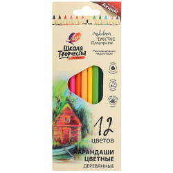 Карандаши цветные 12 цветов, дерево, трехгранный, картонная коробка Школа творчества Луч 30С 1806-08