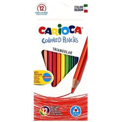 Карандаши цветные 12 цветов, дерево, трехгранный Tringular Carioca 42515