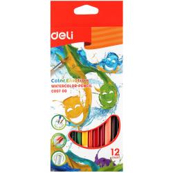 Карандаши цветные акварельные 12цв Deli Color Emotion с кистью трехгранные EC00700 европодвес картонная коробка