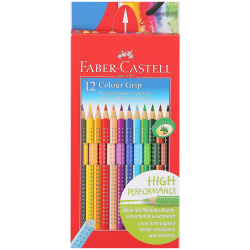 Карандаши цветные акварельные 12цв Faber-Castell Colour Grip трехгранные 112412 европодвес картонная коробка