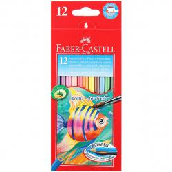 Карандаши цветные акварельные 12цв Faber-Castell Fish Desing шестиганные 114413 европодвес картонная коробка