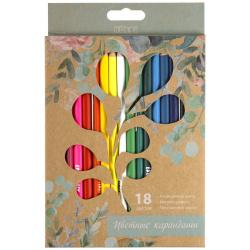 Карандаши цветные 18цв КОКОС ERGO First Flowers трехгранные 210723 европодвес картонная коробка