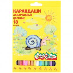 Карандаши цветные акварельные 18цв Каляка Маляка шестигранные КАКМ18 европодвес картонная коробка