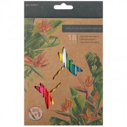 Карандаши цветные акварельные 18 цветов, дерево, трехгранный, крафт First ERGO First КОКОС 205877