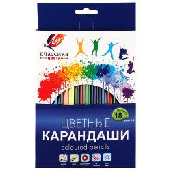 Карандаши цветные 18 цветов, дерево, шестигранный, картонная коробка Классика Луч 29С 1711-08