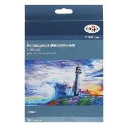 Карандаши цветные акварельные 18цв Гамма Лицей шестигранные с кистью 221118_03 европодвес картонная коробка