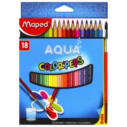 Карандаши цветные акварельные 18 цветов, дерево, трехгранный, картонная коробка Color'peps Maped 836012