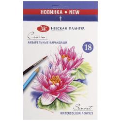 Карандаши цветные акварельные 18 цветов, дерево, шестигранный, картонная коробка Сонет Невская палитра 81411437