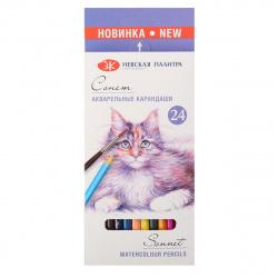 Карандаши цветные акварельные 24 цвета, дерево, шестигранный, картонная коробка Сонет Невская палитра 81411438