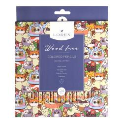 Карандаши цветные 24цв LOREX WOOD FREE COCKTAIL KITTENS трехгранные LXCPWF24-CK европодвес картонная коробка
