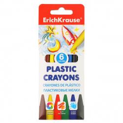 Мелки пластиковые 6цв d-7мм круглые Erich Krause 50525 разноцветные европодвес карт/уп