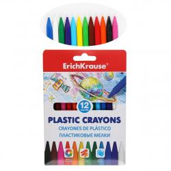 Мелки пластиковые 12цв d-7мм Erich Krause 50526 разноцветные европодвес карт/уп
