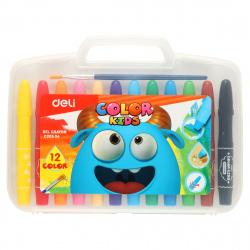 Мелки гелевые 12цв d-10мм круглые Deli Color Kids акварельные+кисточка EC20504 пласт/чемодан