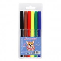 Фломастеры 6 цветов, корпус круглый, смываемые, колпачок вентилируемый Pretty Puppy КОКОС 210790
