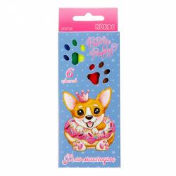 Фломастеры 6 цветов, корпус круглый, конический, смываемые, колпачок вентилируемый Pretty Puppy КОКОС 210778
