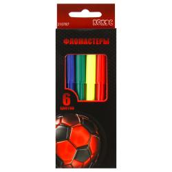 Фломастеры 6 цветов, корпус круглый, смываемые, колпачок вентилируемый Football Power КОКОС 210787