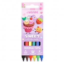 Фломастеры 6цв deVENTE Sweet смываемые вент колпачок 5080105 европодвес карт/к