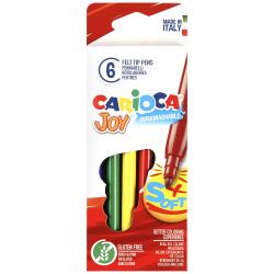 Фломастеры 6 цветов, корпус круглый, конический, смываемые, колпачок вентилируемый Joy Carioca 40613