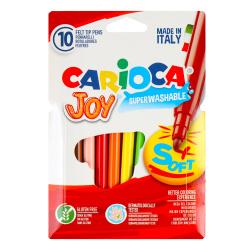 Фломастеры 10 цветов, корпус круглый, конический, смываемые, колпачок вентилируемый Carioca 40528