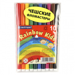 Фломастеры 10 цветов, корпус круглый, конический, смываемые, колпачок вентилируемый Rainbow Kids Centropen 7550/10 ET