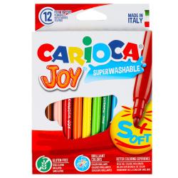 Фломастеры 12 цветов, корпус круглый, конический, смываемые, колпачок вентилируемый Joy Carioca 40614