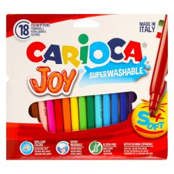 Фломастеры 18 цветов, корпус круглый, конический, смываемые, колпачок вентилируемый Carioca 40555