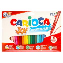 Фломастеры 24 цвета, корпус круглый, конический, смываемые, колпачок вентилируемый Joy Carioca 40532