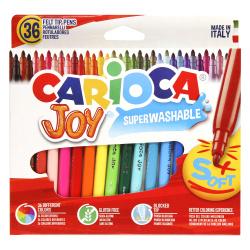 Фломастеры 36 цветов, корпус круглый, конический, смываемые, колпачок вентилируемый Carioca 40616