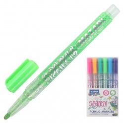 Маркер-краска пулевидный, с блестками, 1,0-2,0мм, корпус пластиковый, цвет ассорти 6 цветов Sparkle  Mazari M-15077- 6