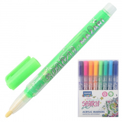 Набор маркер-красок 8цв 1-2мм Mazari SPARKLE с блестками M-15077- 8