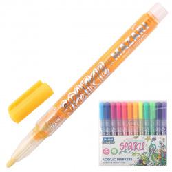 Набор маркер-красок 12цв 1-2мм Mazari SPARKLE с блестками M-15077-12