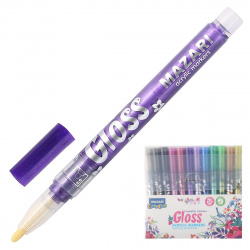Набор маркер-красок 12цв 1-2мм Mazari GLOSS металик M-15076- 12