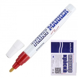 Маркер-краска пулевидный, лаковый, 4,0мм, корпус алюминиевый, цвет красный   MunHwa РМ-03
