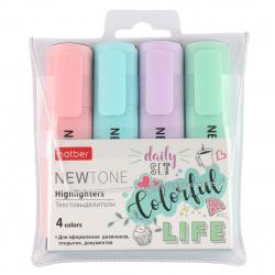 Набор текстовыделителей 4цв 1-5мм Hatber NEWtone Pastel HL_062055 роз гол сирен зел