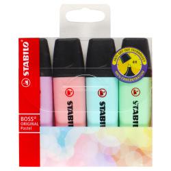 Набор текстовыделителей 4цв 2-5мм Stabilo Boss Original pastel 70/4-2 зел роз фиол гол